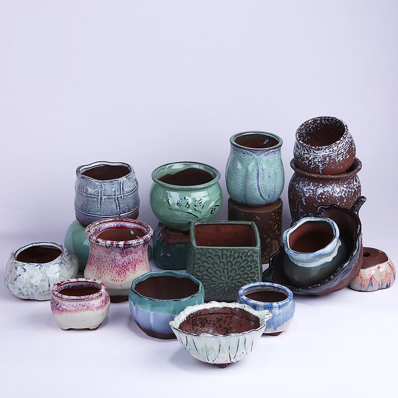 Glaze hand-painted Mini Bonsai Flower Pot